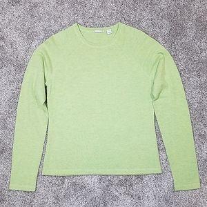 Halogen Merino Wool Green Crew Neck Sweater Sz M